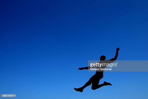 Marquise Goodwin of the USA competes in the Men's Long Jump during the IAAF Diamond League meeting at Alexander Stadium on June 5 2016 in Birmingham...