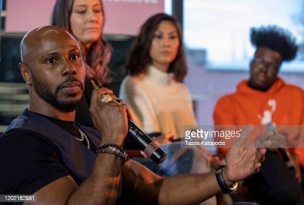 Marquise Vilson Erica Tremblay Rain Valdez and Tre'vell Anderson at The Full Rainbow Centering Underrepresented Voices panel on January 26 2020 in...