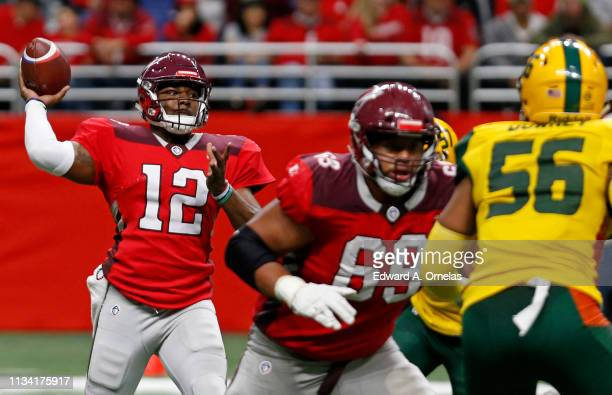 Marquise Williams of the San Antonio Commanders passes during an Alliance of American Football game against the Arizona Hotshots at the Alamodome on...
