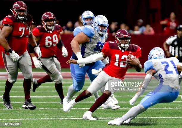 Marquise Williams of the San Antonio Commanders runs with the ball against the Salt Lake Stallions in the fourth quarter of the Alliance of American...
