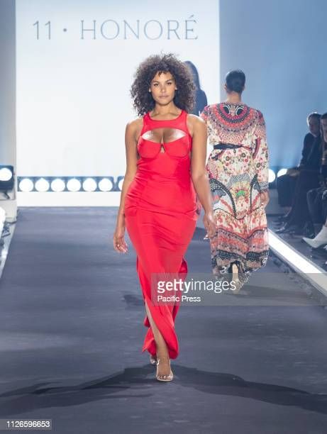 Marquita Pring wearing dress by Chromat walks runway for 11 Honore fashion show during Fall/Winter New York Fashion Week at Spring Studios.