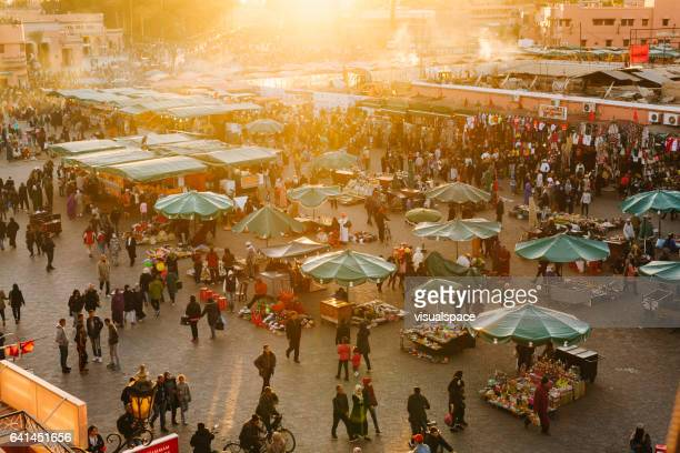 marrakech -  djemaa el fna square - north africa stock photos and pictures