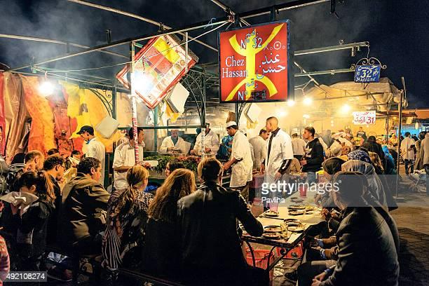 marrakech, djemma el fan square, night street market, morocco - djemma el fna square stock photos and pictures