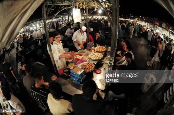 Marrakech food market. Jemaa el-Fnaa.