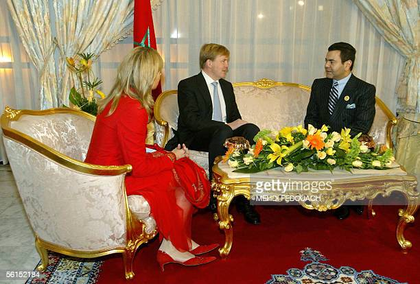 The crown Prince of The Netherlands, Willem Alexander , and his wife Princess Maxima confer Prince Moulay Rachid of Morocco 13 November 2005 at the...