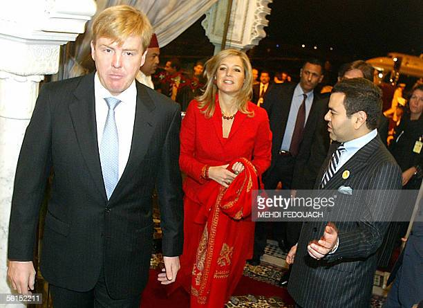 The crown Prince of The Netherlands, Willem Alexander , and his wife Princess Maxima are greeted by Prince Moulay Rachid of Morocco 13 November 2005...