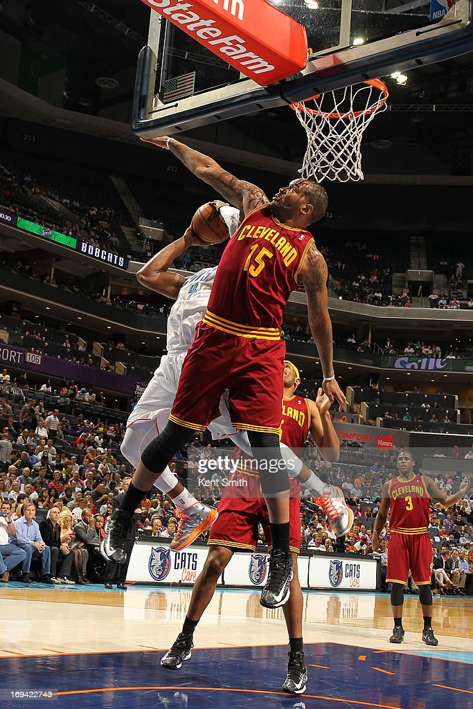 Marreese Speights #15 of the Cleveland Cavaliers goes for the block shot against the Charlotte Bobcats at the Time Warner Cable Arena on April 17, 2013 in Charlotte, North Carolina.
