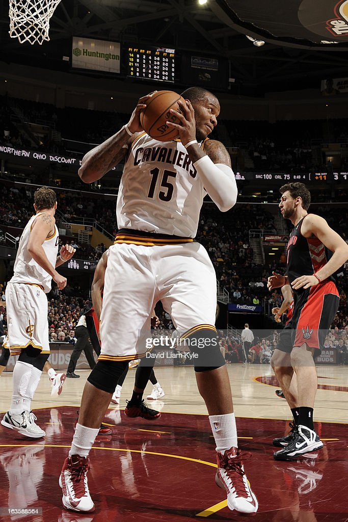 Marreese Speights #15 of the Cleveland Cavaliers grabs a rebound against the Toronto Raptors at The Quicken Loans Arena on February 27, 2013 in Cleveland, Ohio.
