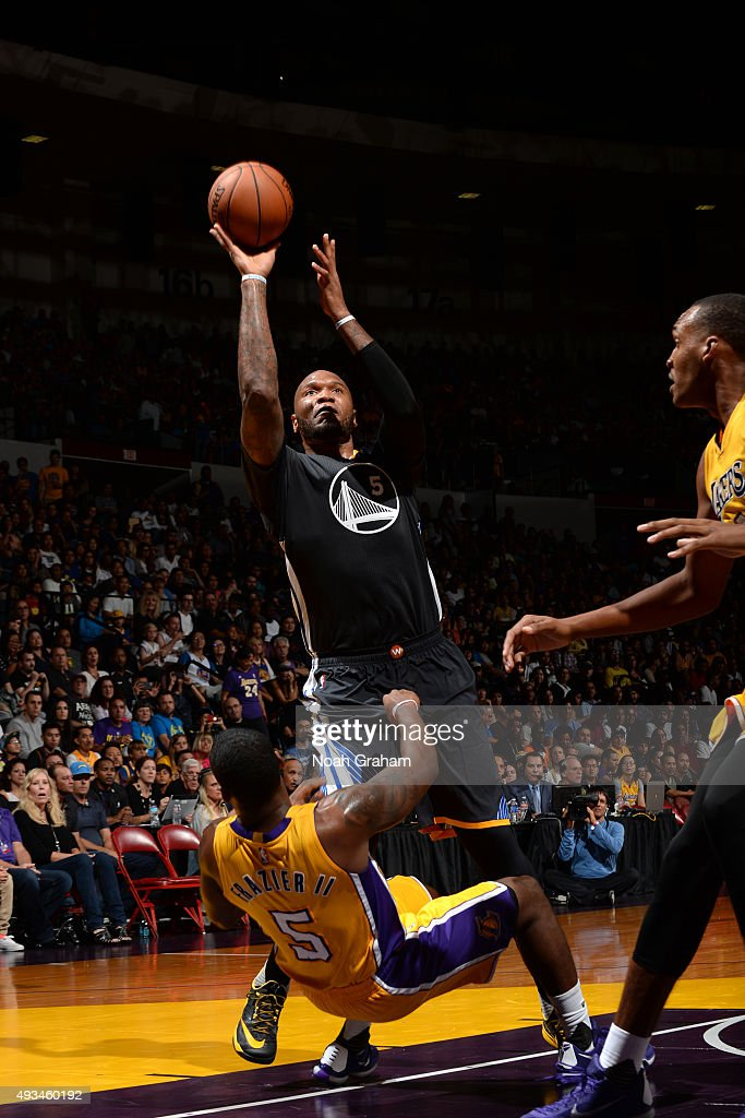 Marreese Speights #5 of the Golden State Warriors drives to the basket against the Los Angeles Lakers during a preseason game on October 17, 2015 at Valley View Casino Center in San Diego, California.