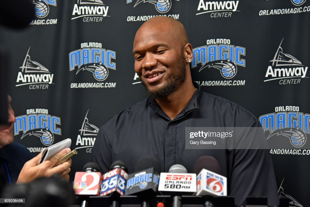 Marreese Speights of the Orlando Magic addresses the media on July 27, 2017 at Amway Center in Orlando, Florida.