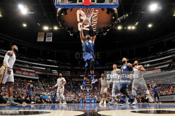 Marreese Speights of the Orlando Magic dunks the ball against the Cleveland Cavaliers on February 6 2018 at Amway Center in Orlando Florida NOTE TO...