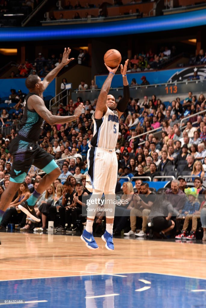 Marreese Speights #5 of the Orlando Magic shoots the ball against the Charlotte Hornets on February 14, 2018 at Amway Center in Orlando, Florida.