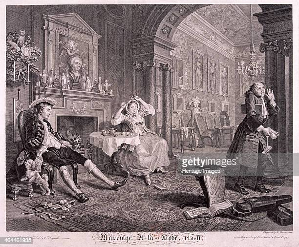 'Marriage a la Mode' 1745 plate II The young nobleman comes home from a night of revelry at 120 am and ignores his wife who has been holding a card...