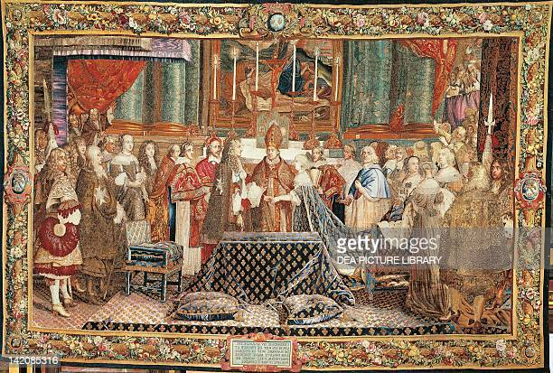 Marriage between Louis XIV and Maria Theresa of Austria in SaintJeandeLuz 17th century French tapestry based on a cartoon by Saint Andre' from the...