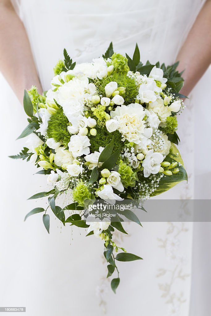 Marriage bouquet made of white Dianthus : Stock Photo