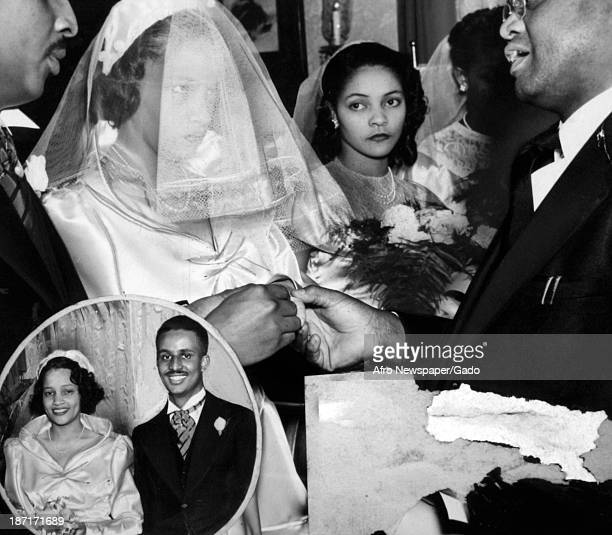 Marriage ceremony of two African Americans, with an inset image of the couple after the wedding, late 1940s.