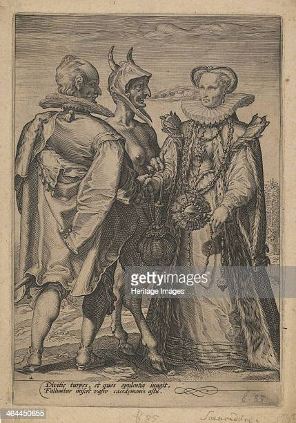 Marriage for Wealth Officiated by the Devil ca 1600 From a private collection