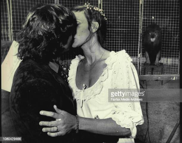 Marriage In Lions Cage With 'Ceaser' The Lion A WitnessDavid Bland and Paul Glenn after heir ceremony in the Cage with Ceaser the Lionat Perry circus...