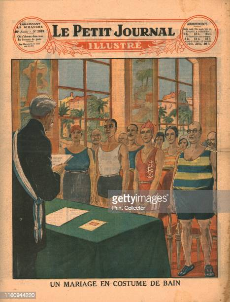 A marriage in swimwear 1929 'Un Mariage En Costume De Bain' Bride groom and guests wearing bathing costumes at a French marriage ceremony in the town...