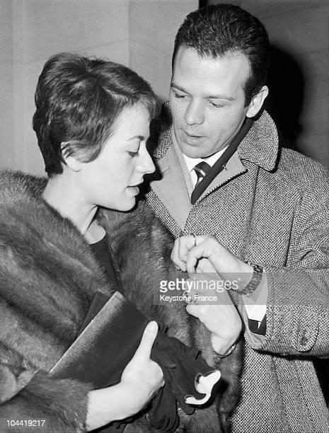 Marriage Of Annie Girardot And Renato Salvatori In Paris In 1962.