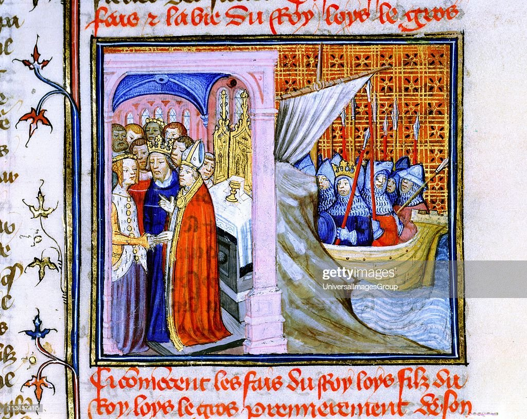 Marriage of Eleanor of Aquitaine (c1122-1204) and Louis VII of France (1137) left, and embarkation for Second Crusade 1147-1149. From Chronique de St Denis, Musee Conde, Chantilly. Eleanor's second marriage was to Henry Plantagenet, Henry II of England. : News Photo