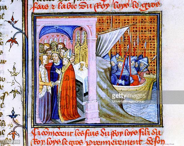 Marriage of Eleanor of Aquitaine and Louis VII of France left and embarkation for Second Crusade 11471149 From Chronique de St Denis Musee Conde...