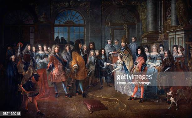 Marriage of Louis of France Duke of Burgundy to Princess Marie Adelaide of Savoy at Versailles on 7 December 1697 present is the King Louis XIV in...