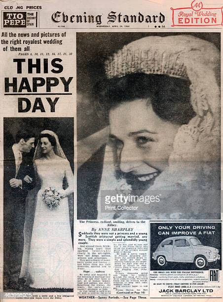Marriage of Princess Alexandra and Angus Ogilvy 24 April 1963 Front page of the Evening Standard newspaper