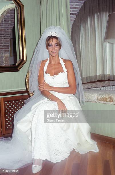 Marriage of Spanish actress and television presenter Elsa Anka and Miguel Torrent 28th August 1996 Barcelona Catalonia
