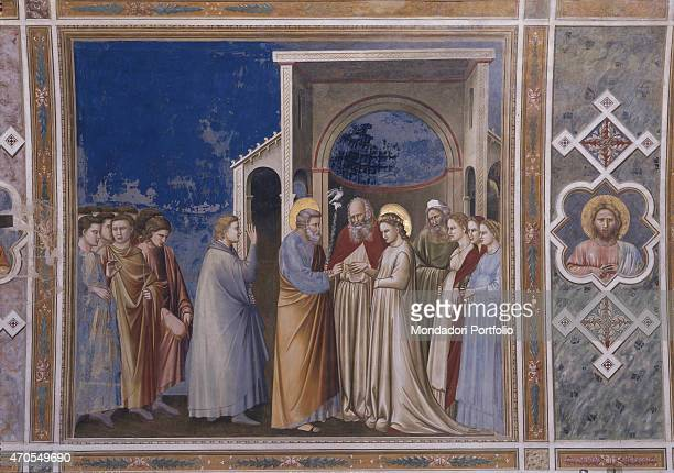 """Marriage of the Virgin , by Giotto, 1303-1305, 14th Century, fresco Italy, Veneto, Padua, Scrovegni Chapel. After restoration picture. Whole artwork..."