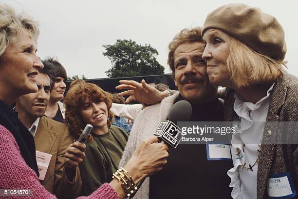 Married actors and comedians Jerry Stiller and Anne Meara being interviewed by an ET News reporter at an anti-nuclear rally in New York City, 12th...
