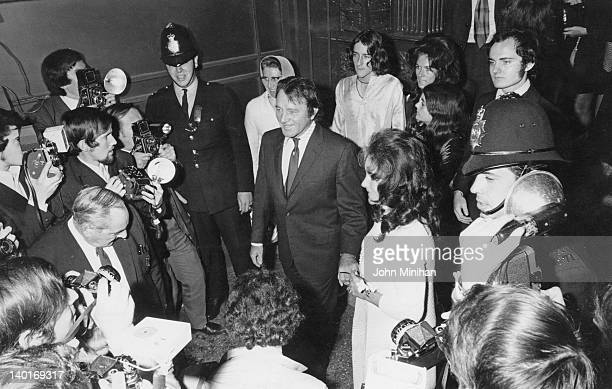 Married actors Elizabeth Taylor and Richard Burton at Caxton Hall in London after the wedding of Taylor's son Michael Wilding Jr 19th October 1970