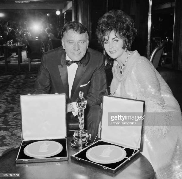 Married actors Elizabeth Taylor and Richard Burton attend the BAFTA Awards dinner at Grosvenor House in London, 26th April 1967. They won the Best...