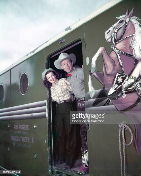 Married actors Roy Rogers and Dale Evans on the Roy Rogers train, circa 1955.