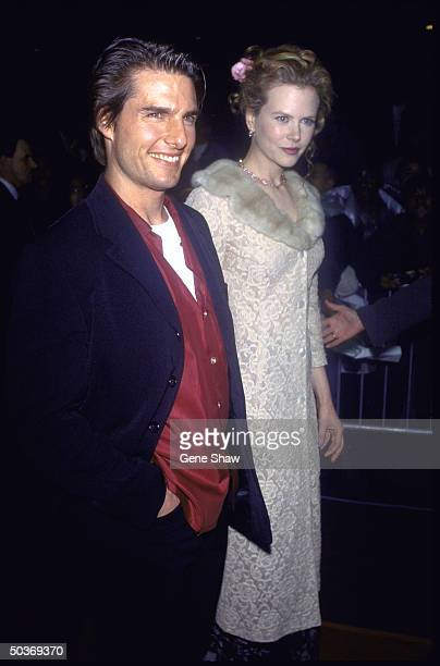 Married actors Tom Cruise and Nicole Kidman at film premiere of Jerry Maguire