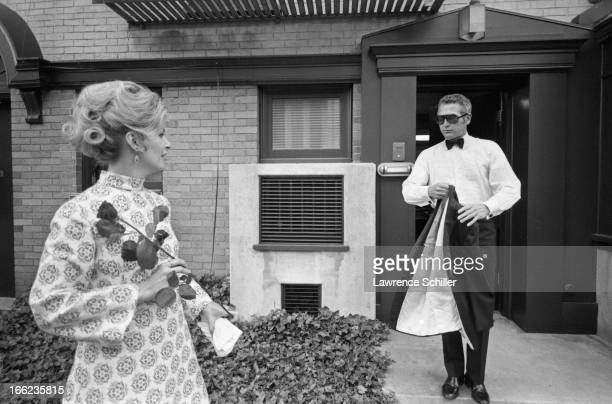 Married American actors Joanne Woodward and Paul Newman prepare to attend the Academy Awards Los Angeles California April 7 1970