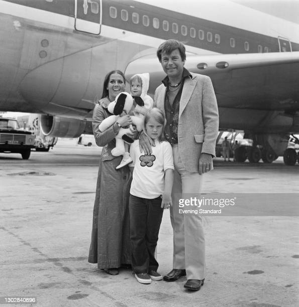 Married American actors Natalie Wood and Robert Wagner with her daughter Natasha and his daughter Katie at Heathrow Airport in London, UK, 4th August...
