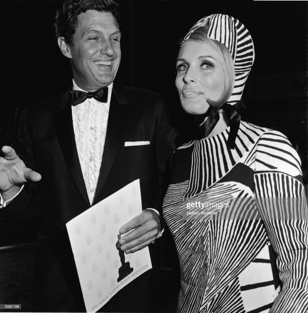 Married American actors Robert Stack (1919 - 2003) and Rosmarie Stack arrive for the 39th Annual Academy Awards, Los Angeles, California, April 10, 1967.