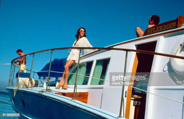 Married American actors Robert Wagner and Natalie Wood on their yacht the 'Splendour' October 8 1976 The man at right is unidentified