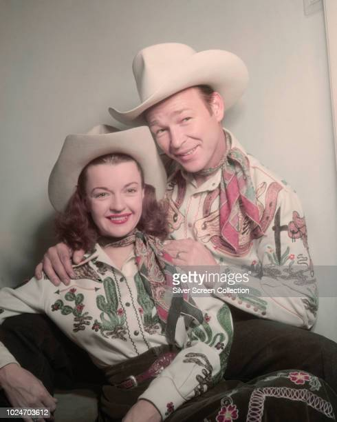 Married American actors Roy Rogers and Dale Evans circa 1950