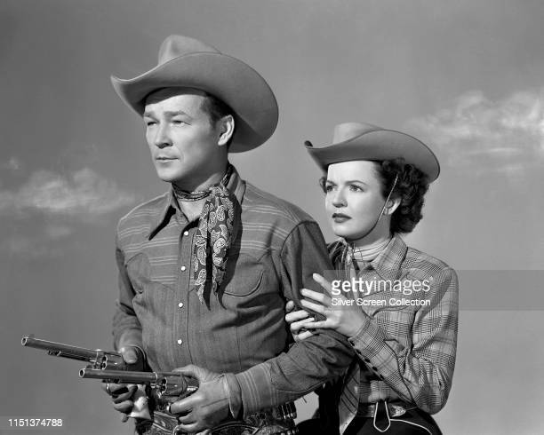 Married American actors Roy Rogers and Dale Evans, circa 1950.