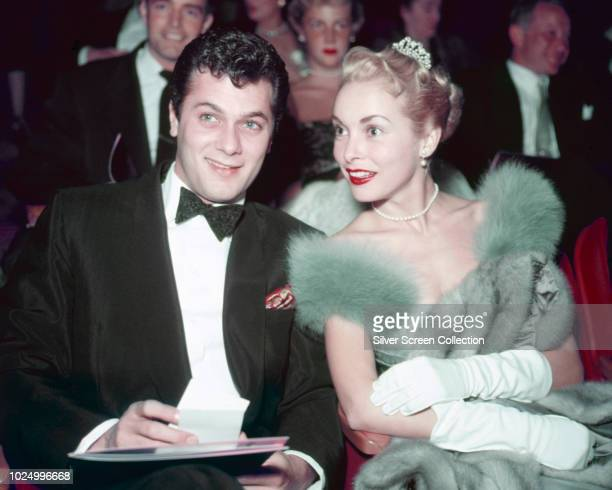 Married American actors Tony Curtis and Janet Leigh at a formal event circa 1955