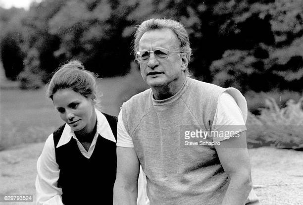 Married American actors Trish Van Devere and George C Scott sit outdoors at their home New York 1976
