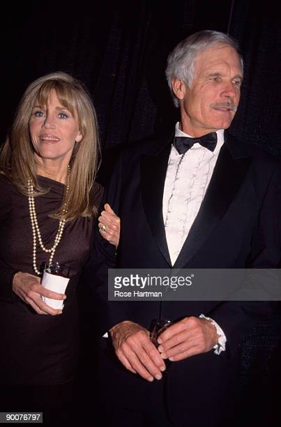 Married American couple, actress Jane Fonda and broadcast journalist Ted Turner, attend the Congress of Racial Equality's Martin Luther King...