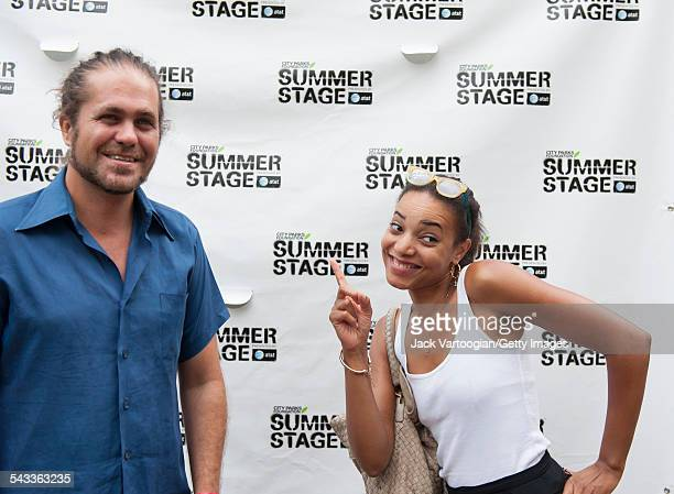 Married American musicians Citizen Cope and Alice Smith poses backstage at Central Park SummerStage New York New York July 28 2012