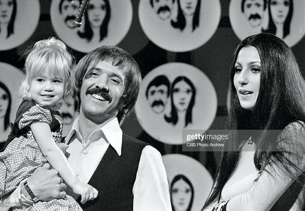 Married American singing and acting duo Sonny Bono (1935 - 1998) (born Salvatore Philip Bono) and Cher (born Cherilyn Sarkisian LaPiere) appear with their daughter Chastity Bono on an episode of the television variety show 'The Sonny and Cher Comedy Hour,' December 17, 1971.