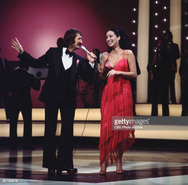 Married American singing and acting duo Sonny Bono and Cher perform together on their television variety show 'The Sonny Cher Comedy Hour' 1972