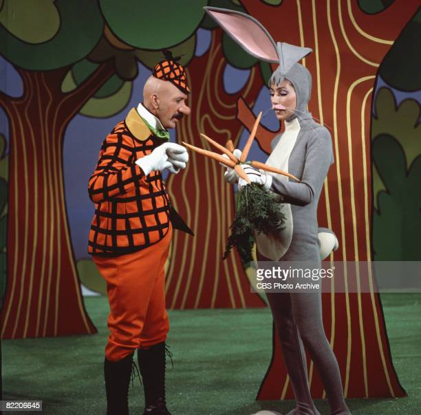 Married American singing and acting duo Sonny Bono and Cher perform together as Elmer Fudd and Bugs Bunny respectively in a skit on their television...