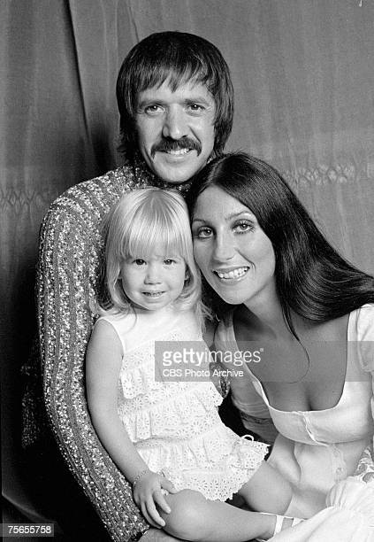Married American singing and acting duo Sonny Bono and Cher pose with their daughter Chastity Bono for the television variety show 'The Sonny and...
