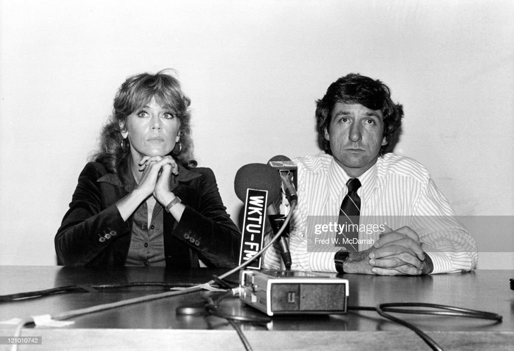 Married Americans actress Jane Fonda and political activist Tom Hayden speak at a press conference in support of striking grape workers, New York, New York, September 21, 1979.